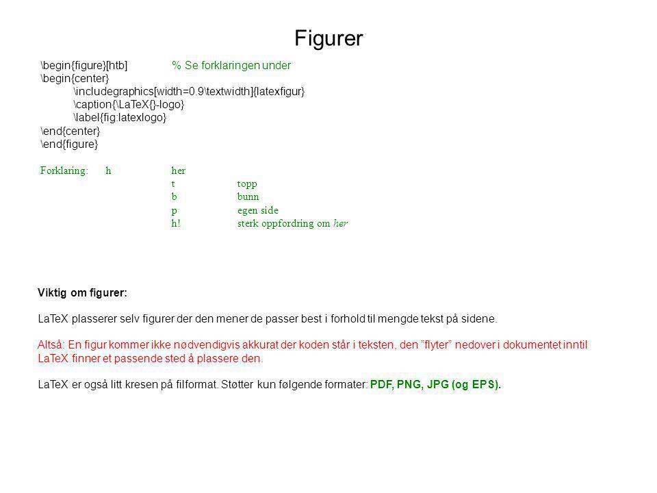 Figurer \begin{figure}[htb] % Se forklaringen under \begin{center}